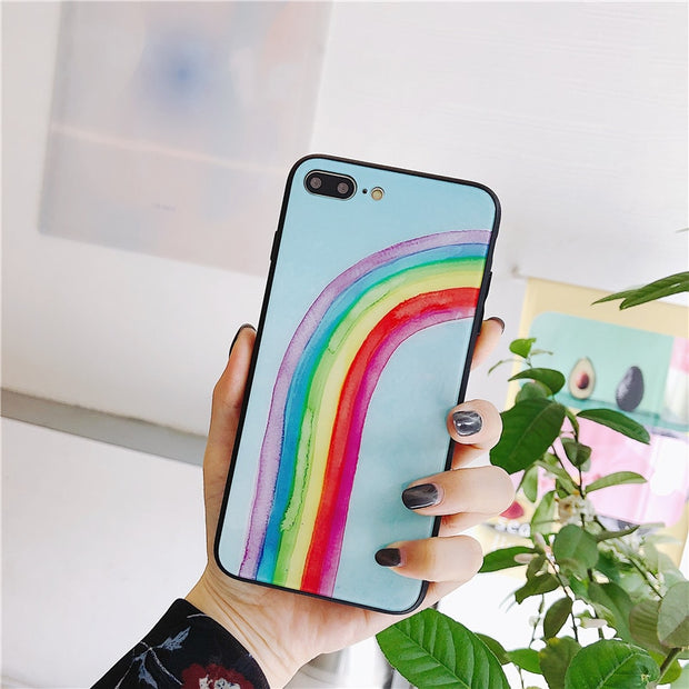 JAMULAR Rainbow Tempered Glass Phone Case For IPhone X 7 8 6 6s Plus Cool Colorful Silicone Cover For IPhone 7 Soft TPU Coque