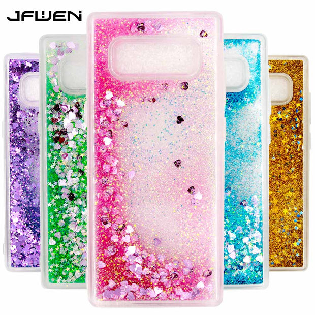 JFWEN For Samsung Galaxy Note 8 Case Cover Silicone Soft TPU Love Heart Dynamic Liquid Case Luxury For Coque Samsung Note 8 Case