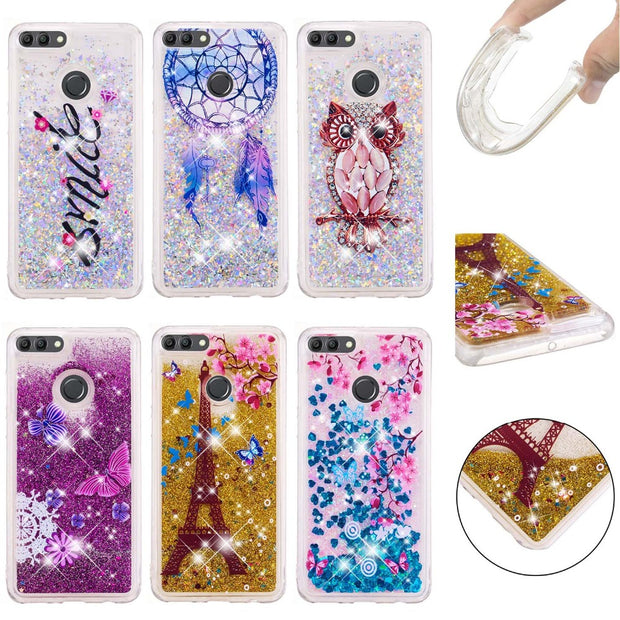 JFWEN SFor Huawei Y9 2018 Case Glitter Liquid Quicksand Phone Cases For Fundas Huawei Y9 2018 Case Cover Coque Enjoy 8 Plus Case