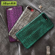 JiBan Fashion Laser Crocodile Pattern Mobile Phone Case For IPhone 6 6S Plus 7 8 Plus X Cases Half Bag Leather Pattern Couple