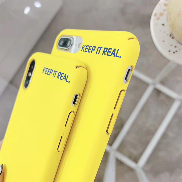 """KEEP IT REAL"" Letter Print Frosted Hard Phone Case For IPhone 6 6s 7 8Plus X XS MAX XR Fashion Cute Yellow Protect Cover Coque"