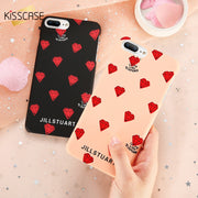KISSCASE Couple Red Diamond Design Phone Case For IPhone 7 8 X 6 6S Plus Ultra Thin Smooth Cover For IPhone 5S SE X 10 Cases