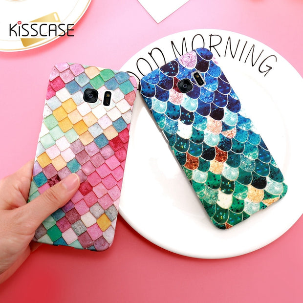 KISSCASE Luminous 3D Cases For Samsung Galaxy Note 8 S8 A3 A5 2017 Plus Case For Huawei P9 P10 Plus Colorful Scales Back Coques