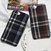 Kerzzil British Style Plush Lattice Case For IPhone7 Plus 8 8plus Simple Personality Flannel Grid Phone Case For Iphone 7 6S 6