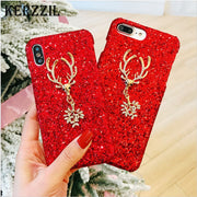 Kerzzil Buckhorn Phone Case For IPhone 6 7 8 Plus Bling Glitter Shining Flash Powder Cases For IPhone X 6S Plus Hard Phone Cover
