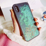 Kerzzil Flowing Liquid Tetris Phone Cover For IPhone 7 6 6S Plus Hard Case Bling Glitter For IPhone X 7 8 Back Capa Qian