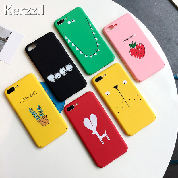 Kerzzil Funny Cartoon Animal Phone Case For IPhone X 7 6 8 Finger Hard Cover Abstract Matte Cases Cover For IPhone 7 6 6S 8 Plus