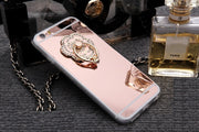 Kerzzil Heart Metal Mirror Stand Holder Case For IPhone 7 6S Plus SE Bling Diamond Back Soft Slim TPU For IPhone X 7 6 8 10 Capa