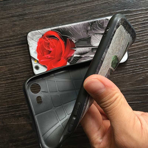 Kerzzil Relief Rose Phone Cases For Iphone7 Case Retro Flowers Soft TPU Capa Beautiful Red Rose Case For Iphone6 8 6S Plus Coque