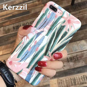 Kerzzil Vintage Orchid Flower Painting Case For Iphone7 6 6s Pink Flower Leaves Cases For IPhone 6 6s 7PLus Hard Back Cover Capa