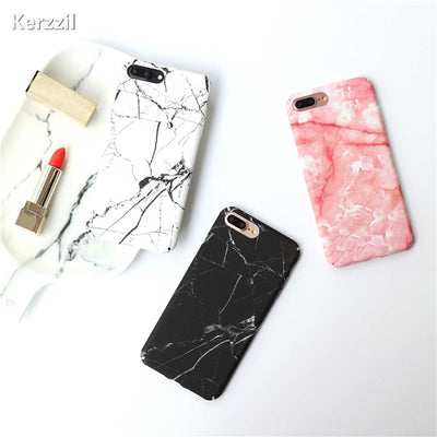 Kerzzil Advanced Marble Stone Phone Case For IPhone 7 6 6s Capa Hard Back Cover Cases For Iphone 8 7 Plus 6S Plus Black Housing
