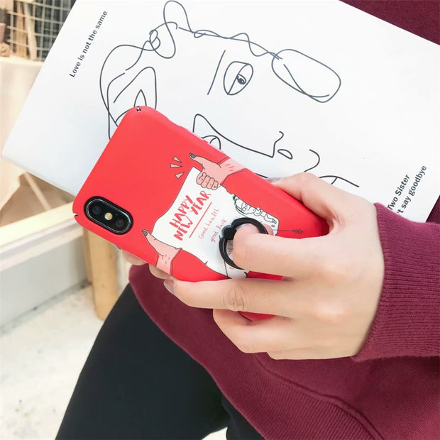 Korea Funny Cartoon Pattern Happy New Year Hard PC Full Protection Phone Case For Apple IPhone 6 6S Plus 7 8 Plus X 10 Coque