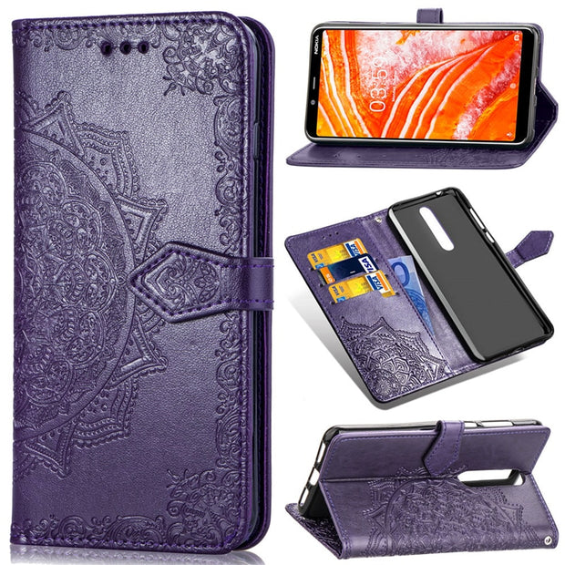 hot sale online 5e6e3 ebe5e LDCRE SFor Nokia 3.1 Plus Case Flower Leather Flip Phone Case For Nokia X3  3.1 Plus Cover Fundas For Nokia 3.1 Plus Coque