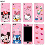 LIHNEL Mickey Minnie Mouse Daisy Duck Kitty Cat 360 Full Body Coverage PC Hard Case Cover For IPhone 6 6S 6plus 7 7plus 8 8plus