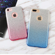 LIHNEL Ombre Bling Glitter Sparkle Shockproof Soft TPU Outer Cover + Hard PC Inner Shell Skin Cover For IPhone 6 6S Plus 7 7Plus