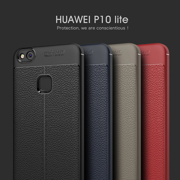 LISHE Luxury Litchi Texture Mobile Phone Case For HUAWEI P9 P10 P20 Lite TPU Shockproof Cover For Huawei Mate 8 9 10 Lite Pro
