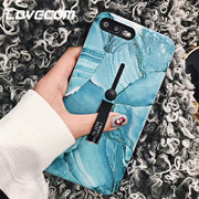 LOVECOM Phone Case For IPhone 6 6S 7 8 Plus X Emboss Marble Texture Soft IMD Phone Back Cover Cases Holder Protectors