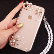 LaMaDiaa Luxury Diamond Butterfly TPU Mobile Phone Case With Rope For Iphone X XS MAX XR 5S 6 6s 7 8 Plus Flower Cover Case