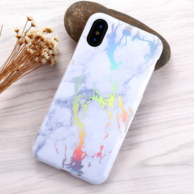 Laser Marble Mobile Phone Case Glossy IMD Protective Cover Soft For Iphone Xs/xs Max/xr 5.8/6.1/6.5inch Case Black White Blue