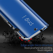 Leather Flip Mirror Case For Samsung Galaxy S9 S8 A6 A8 Plus 2018 A5 J5 J3 J7 A3 A7 2017 J5 J7 Prime Note 8 Stand View Cover