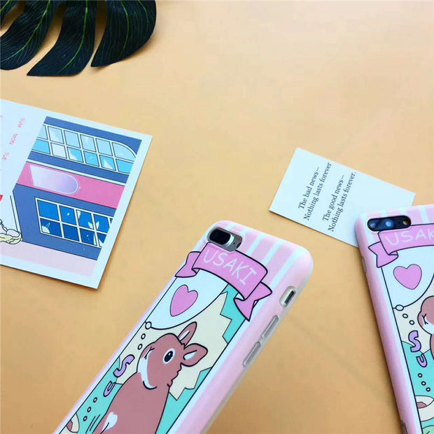 Love Heart Cute Usaki Standing Rabbit Pattern Phone Case Pink Cover For IPhone X XR XS MAX 8Plus 7Plus 6s Plus Protect IMD Coque