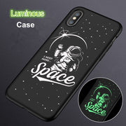 Luminous Hard Case For IPhone 7 8 X 6s 6 Plus Matte Plastic Night Light Cool Pattern Cute Astronaut Fundas For IPhone X Case