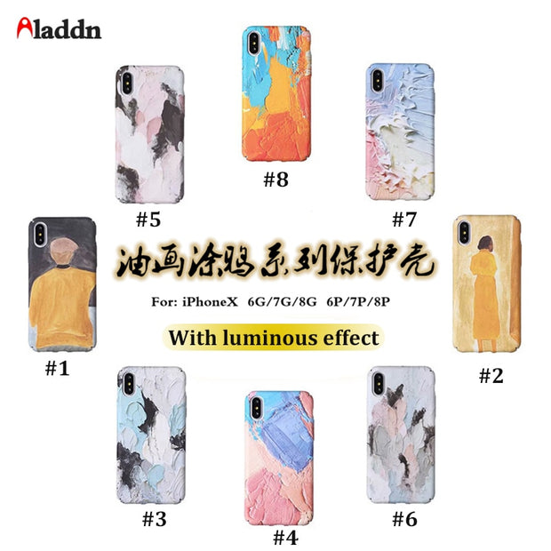 Luminous Phone Cases For IPhone X 7 8 Case 7 8 6S Plus Oil Painting Hard PC Phone Cover For IPhone 6 Case For IPhone X Cases