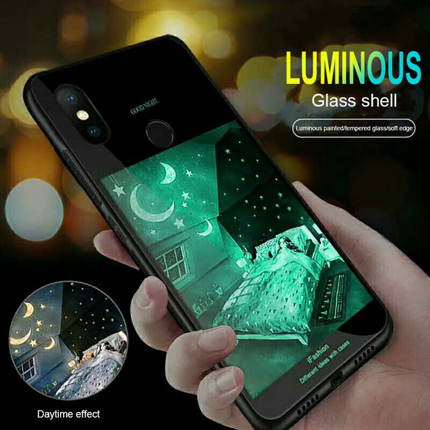 Luxury 9H Hard Tempered Glass Case For IPhone X 10 8 7 6 6S Plus Full Protection Soft TPU Luminous Case For IPhone 7 Plus 8 Plus