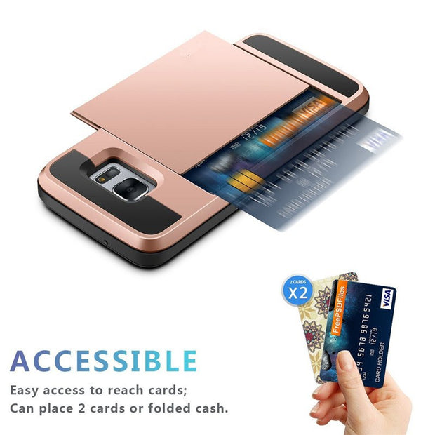 Luxury Card Slider Wallet Card Holder Slot Case For Samsung Galaxy S7 S 6 Edge Plus Shockproof Hard Armor Protective Back Cover
