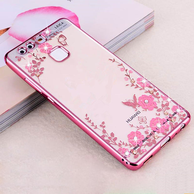 Luxury Case For Huawei Honor 9 7x 8 6 4c 5c Honor 6c Pro 6a 6x 5x 4x Case Cover For Huawei Nova2 Y6II Phone Cases Diamond Flower