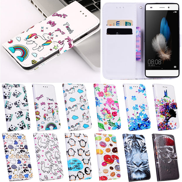 Luxury Flip Cute Rainbow Unicorn Panda Cover Case For Huawei P8 Lite / Mini 5.0 Inhc Case Leather Wallet Cases Shell
