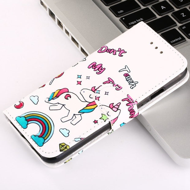 Luxury Flip Cute Rainbow Unicorn Panda Cover Case For Samsung Galaxy S8 S8 S 8 Case Leather Wallet Cases Shell