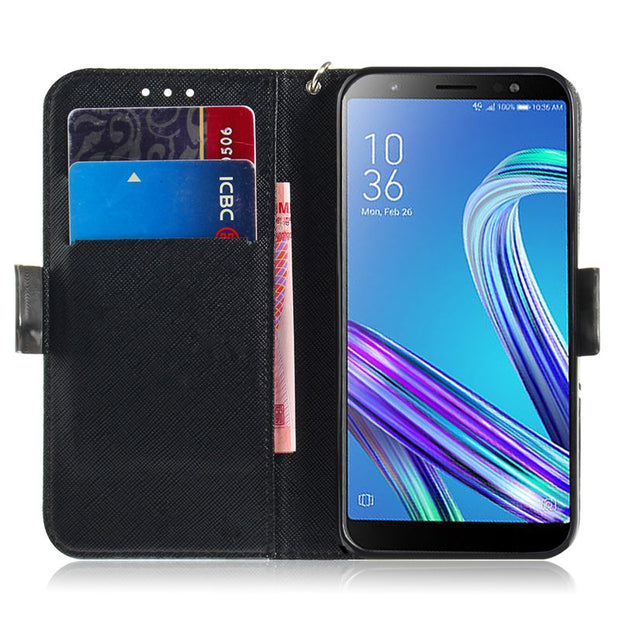Luxury Flip Wallet Case For Asus Zenfone Max M1 ZB555KL Plus ZB570TL Pro ZB601KL 3D Bling Cute Style Leather Cases Cover Coque