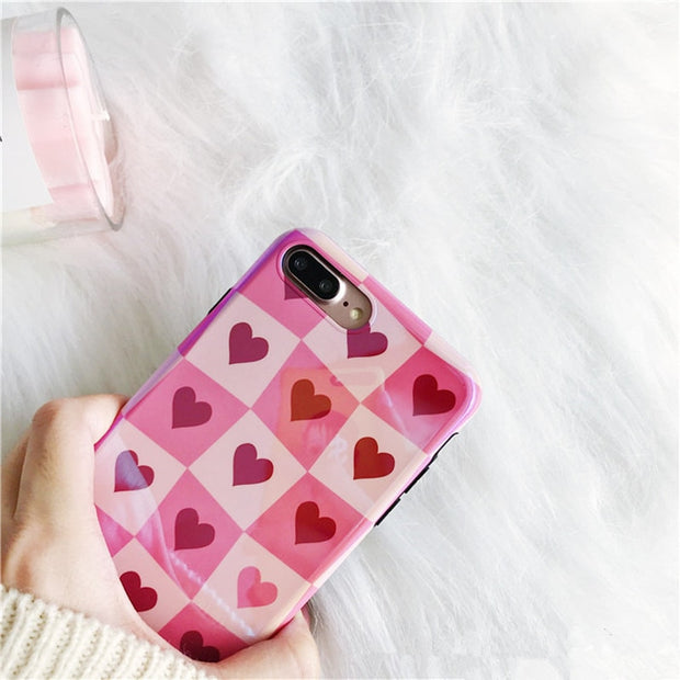 Luxury Grid Love Heart Phone Case For IPhone X Case For IPhone 6 6S 7 8 Plus Cover Fashion Retro Blu-ray Cases Cute Cartoon Capa