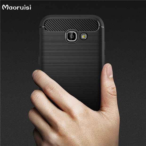 Luxury Soft Carbon Cases For Samsung Galaxy A5 2017 Case Silicone Coque Fundas For Samsung Galaxy A5 2017 Cover Shockproof TPU