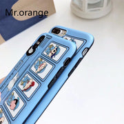 Luxury Soft Silicone Case For IPhone 7 8 X Plus Cover Cute School Bus Dog Japan Cartoon Blue Cases For Apple IPhone 6 6S Plus