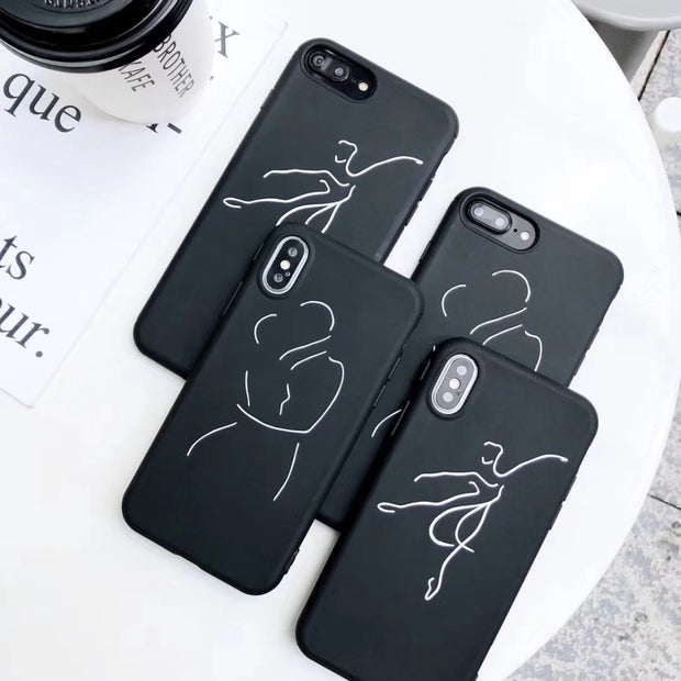 Luxury Trend Abstract Couple Neck Phone Cases For Iphone 6 6s 6plus 6splus 7 Plus 8 Plus X Back Cover Soft Silicon Case Coque
