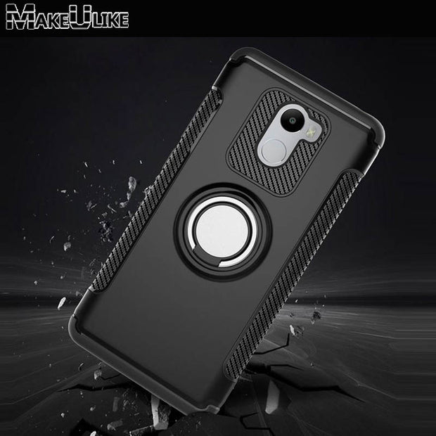 MAKEULIKE Case For Xiaomi Redmi 4 Pro Cover Ring Armor Kickstand Phone Back Cases For Xiaomi Redmi 4 4Pro Capinhas