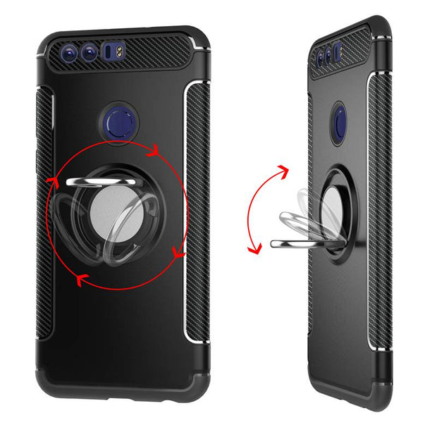 MAKEULIKE Kickstand Back Case For Huawei Honor 8 Lite Cover Ring Armor Phone Bags Cases For Huawei Honor 8 8Lite Capinhas