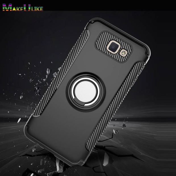 MAKEULIKE Kickstand Back Case For Samsung Galaxy J5 Prime Cover Ring Armor Phone Bags Cases For Samsung J5Prime Capinhas