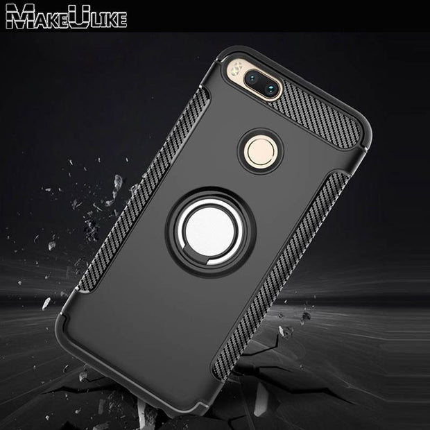 MAKEULIKE Kickstand Back Case For Xiaomi Mi 5X A1 Cover Ring Armor Phone Bags Cases For Xiaomi Mi A1/5X MiA1 Mi5X Capinhas