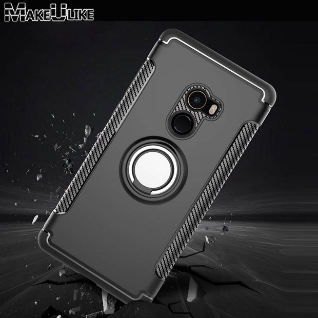 MAKEULIKE Kickstand Back Case For Xiaomi Mi Mix 2 Cover Ring Armor Phone Bags Cases For Xiaomi Mi MiX 2 Mix2 Capinhas