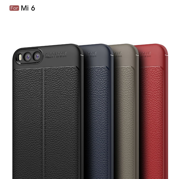 MXHYQ Luxurious Lychee Skin Pattern Anti-fall Tpu Soft Shell Case For Xiaomi 6 For Phone Cases