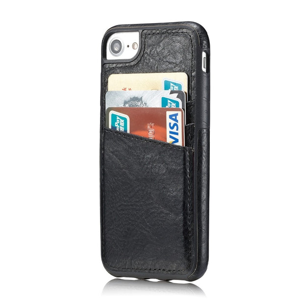 MXHYQ Luxury Leather Retro Protect The Back Pluggable Card Case For Iphone 6 6S 7 8 For Phone Cases