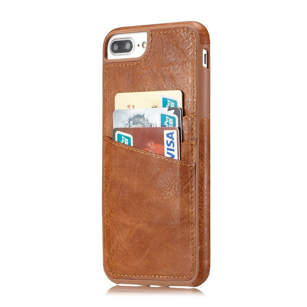 MXHYQ Luxury Leather Retro Protect The Back Pluggable Card Case For Iphone 6 Plus 7 Plus 6s Plus 8 Plus For Phone Cases