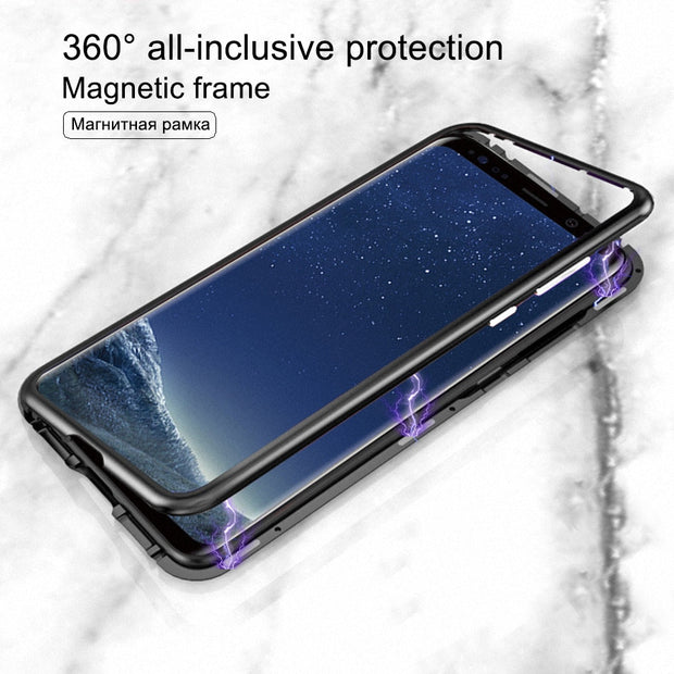 Magnetic Adsorption Metal Tempered Glass Case For Samsung Galaxy S7 Magnet Flip Cover For Samsung Note 8 9 S9 S8 Plus S7 Edge
