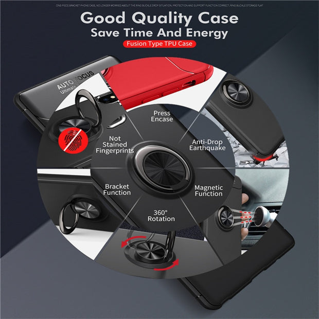 Magnetic Car Holder Case For Samsung Galaxy Note 9 Rotate Finger Ring Round Kickstand Cases For Galaxy Note9 Soft TPU Back Cover