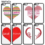 MaiYaCa Best Friends Besties Heart Matching Soft Rubber Skin Phone Cases For IPhone 6S 7 8 Plus X XR XS MAX SE Back Cover Coque