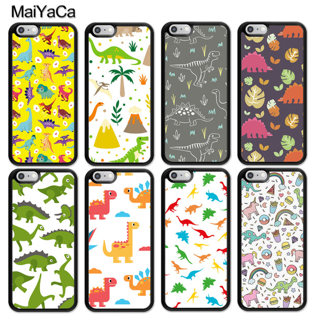 MaiYaCa Dinosaur Cartoon Printed Luxury Mobile Phone Cases For IPhone 6 6S 7 8 Plus X XR XS MAX 5S SE Soft Rubber Cover