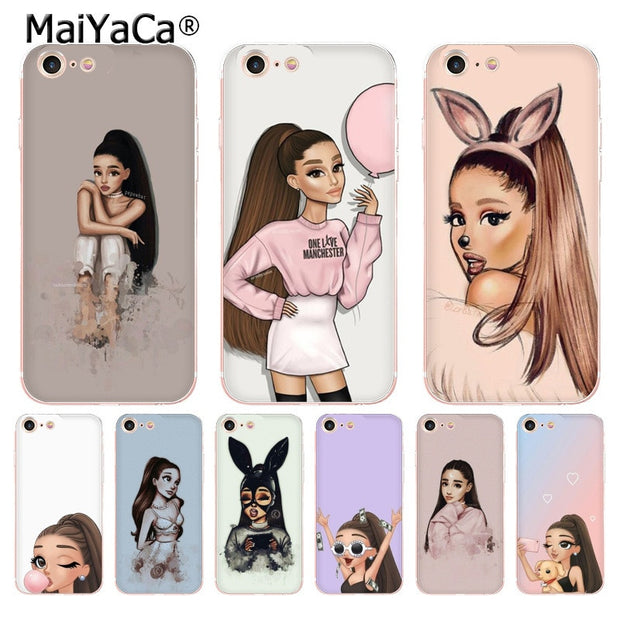 first rate e4b9f 5bbb6 MaiYaCa For Iphone 7 6 X Case Ariana Grande Coque Shell Phone Case For  IPhone 8 7 6 6S Plus X 5 5S SE 5C XS XR Cover